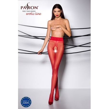 Collant Ouvert Rouge TI001 - T 3/4 Collants Passion 3700450000034 Lerotika