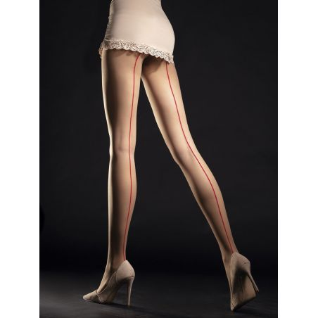 Unique Collants 20 DEN - Nude Rouge Fiore Collants Fantaisies & Résilles FI-5027 Lerotika