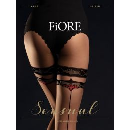 Taboo Collants 20 DEN - Nude Noir Fiore Collants Fantaisies & Résilles FI-5026 Lerotika