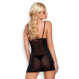 819-CHE-1 chemise and thong black Obsessive