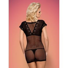 821-CHE-1 chemise and thong black Obsessive Nuisettes OB-3793 Lerotika